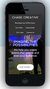 Chase Creative mobile-responsive website image on iPhone by Tempest Inc.
